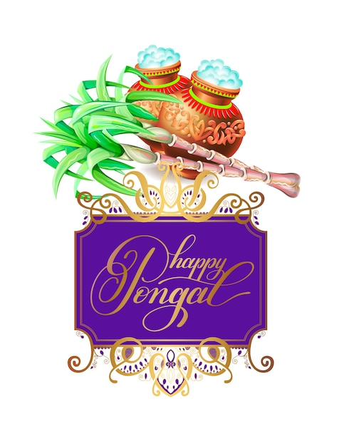 Happy pongal greeting card to south indian harvest festival Premium Vector