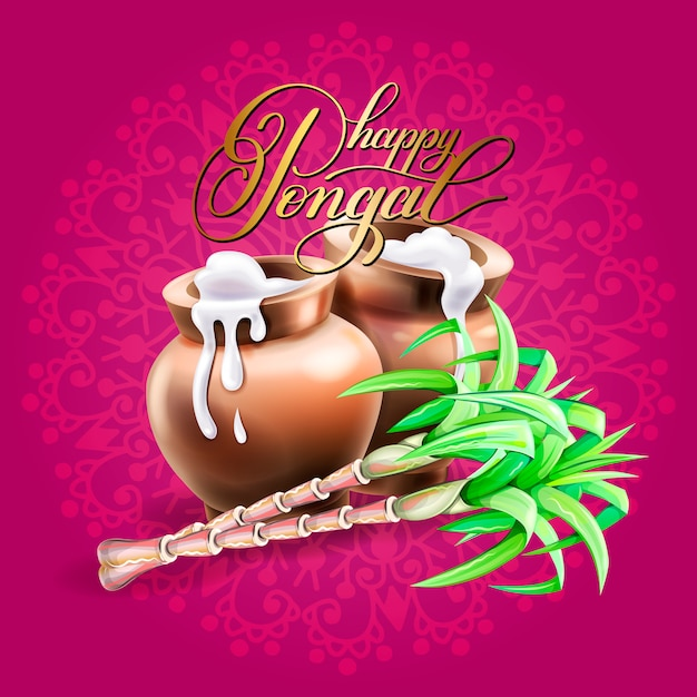 Happy pongal greeting card to south indian winter holiday Premium Vector
