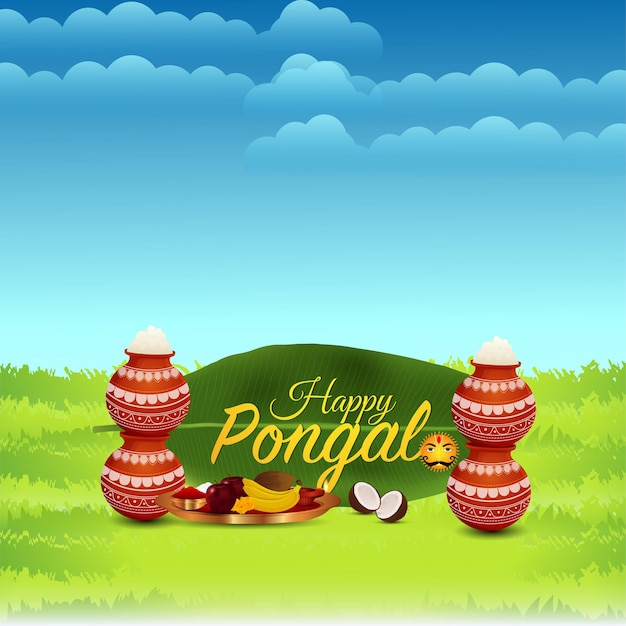 Happy pongal greeting card with mud pot of rice and background Premium Vector