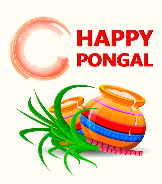 Happy pongal greeting card Premium Vector