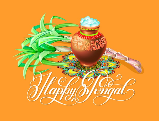 Happy pongal greeting card Premium Vector