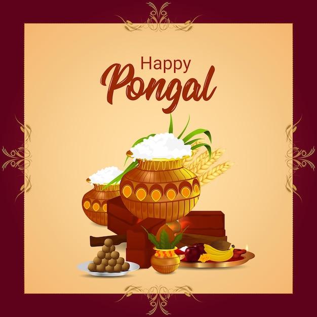 Happy pongal indian festival celebration Premium Vector
