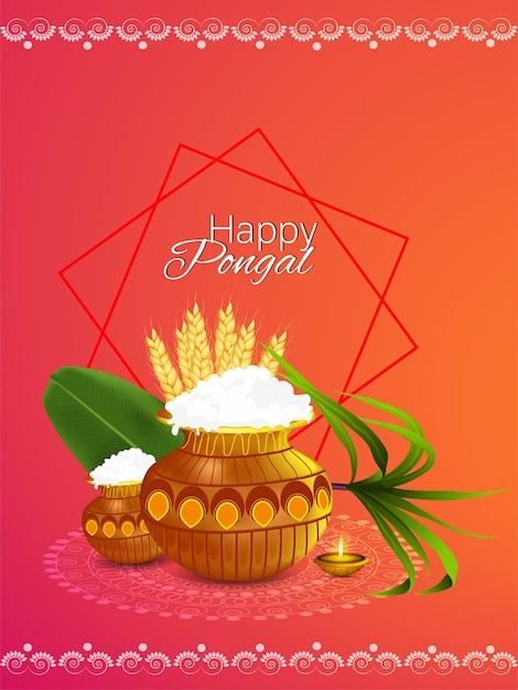 Happy pongal indian festival poster Premium Vector