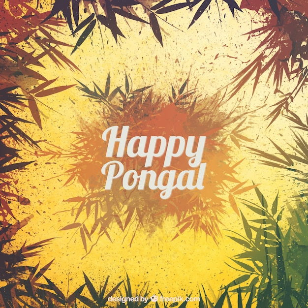 Happy pongal leaves background Free Vector