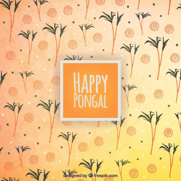 Happy pongal on a palm trees background Free Vector