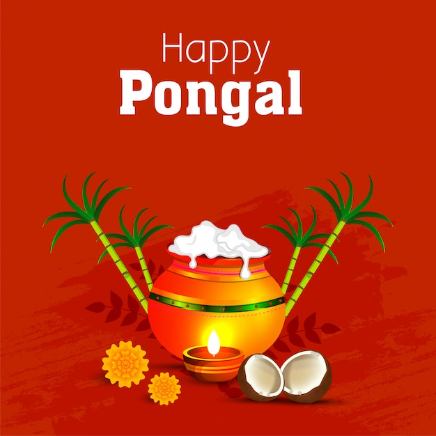 Happy pongal religious festival of south india. Premium Vector