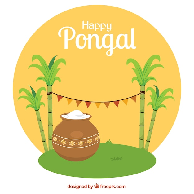 Happy pongal rounded illustration Free Vector