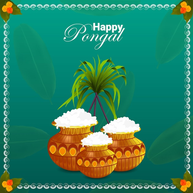 Happy pongal south indian festival background Premium Vector