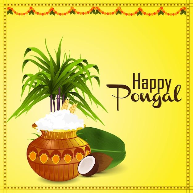 Happy pongal south indian festival celebration design Premium Vector