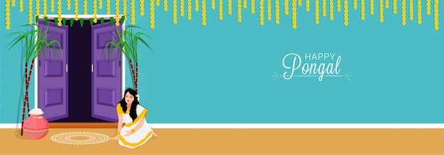 Happy pongal wishes or greeting background design. Premium Vector