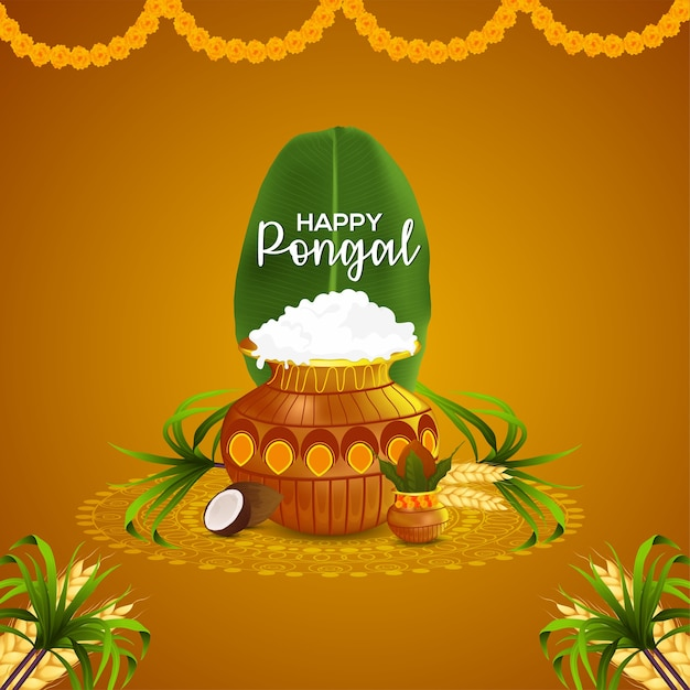 Happy pongal wishes greeting card and background Premium Vector