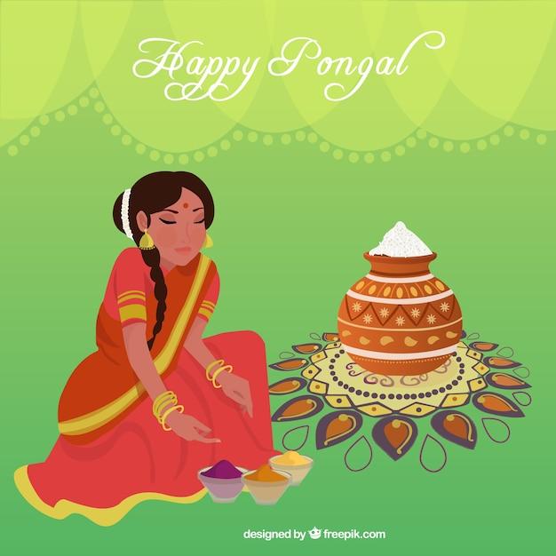Happy pongal woman illustration Free Vector