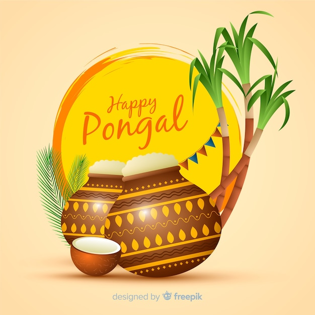 Happy pongal Free Vector