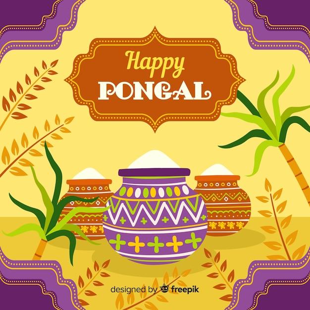 Happy pongal Free Vector