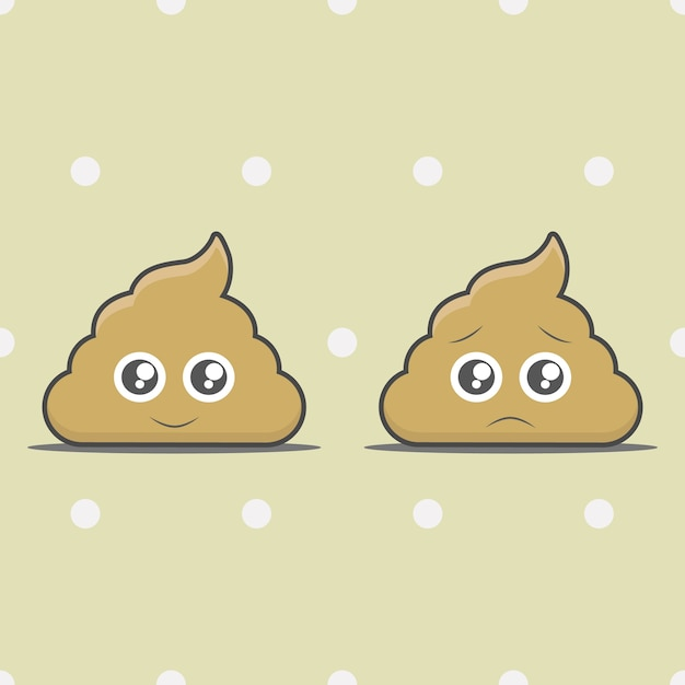 Happy poop and unhappy poop cartoon object Premium Vector