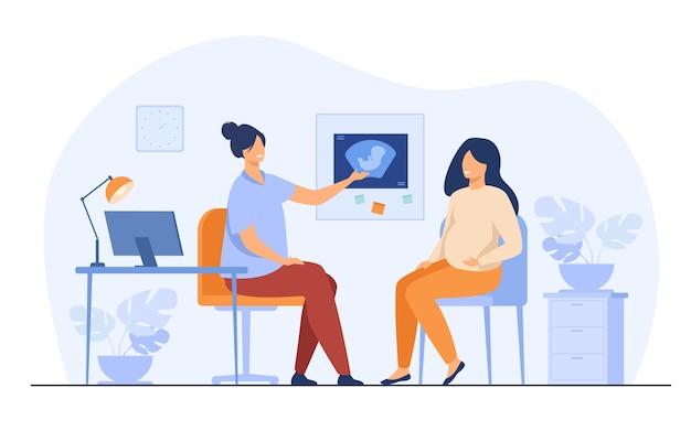 Donna incinta felice che consulta nell'illustrazione piana di vettore isolata ufficio di ginecologia. paziente femminile del fumetto che parla con il medico in ospedale. concetto di medicina e gravidanza Vettore gratuito