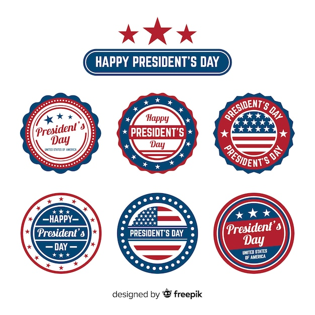 Happy president's day label collection Free Vector