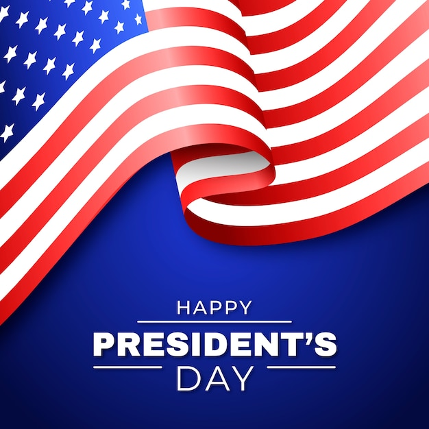 Happy president's day of united states flag Free Vector