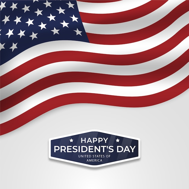 Happy president's day with flag and stars Free Vector