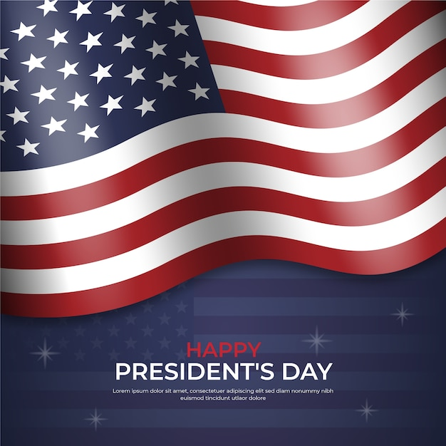 Happy president's day with realistic flag and stars Free Vector