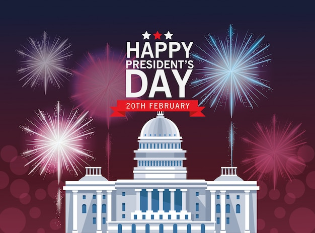 Happy presidents day background with capitol building Premium Vector