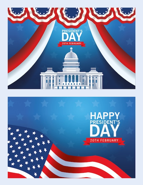 Happy presidents day background with usa capitol building and flag Premium Vector