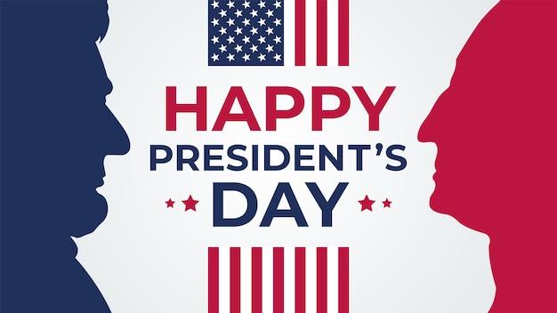 행복한 대통령의 날은 배너 휴일 인사말을 축하합니다. 프리미엄 벡터