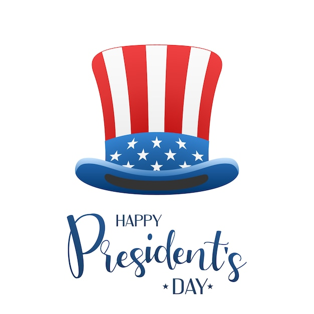 Happy presidents day design with uncle sam hat. calligraphic lettering Premium Vector