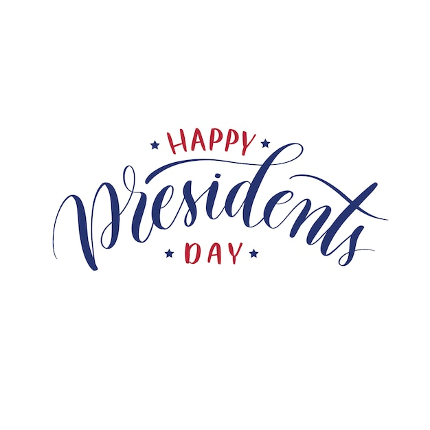 Happy presidents day  hand lettering vector. Premium Vector