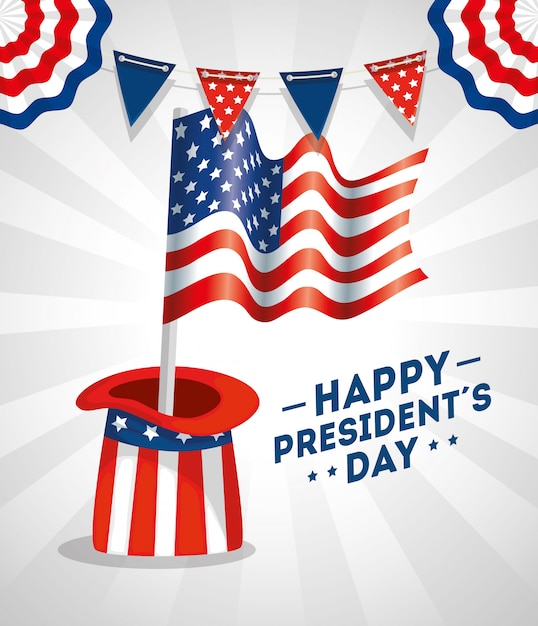 Happy presidents day with hat and flag usa Premium Vector