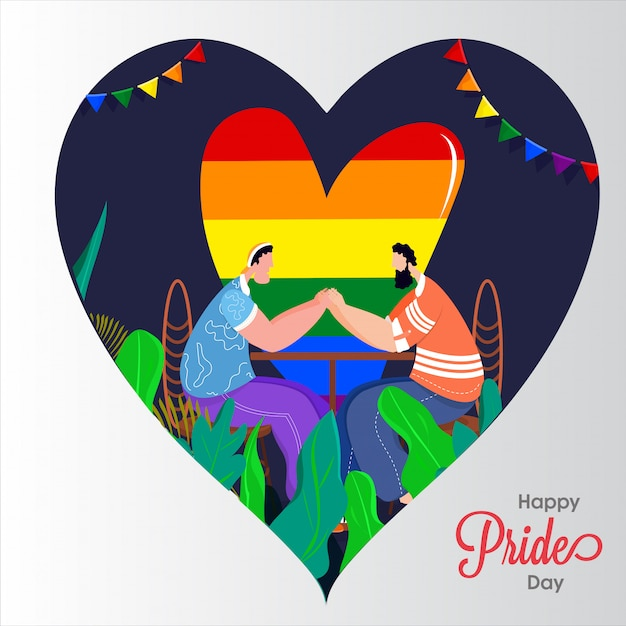 Happy pride day concept for lgbtq community with gay couple holding hands and rainbow color freedom heartshape on background. Premium Vector