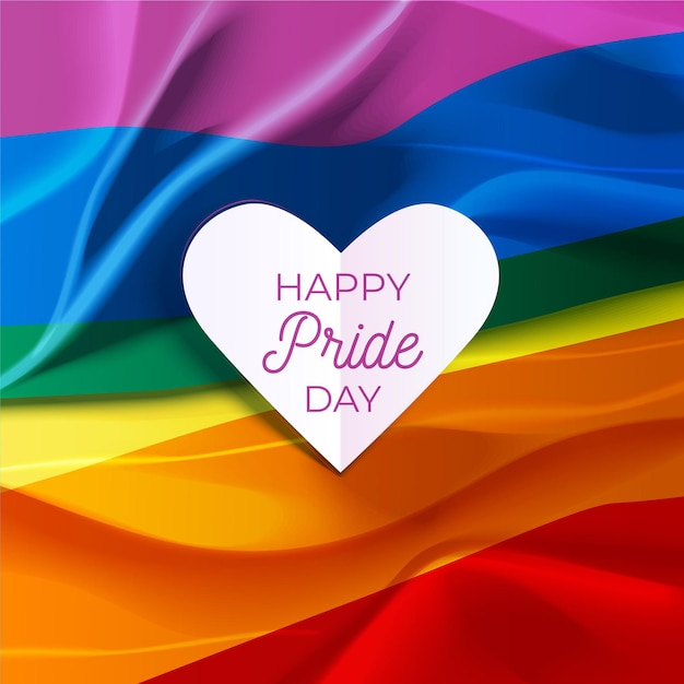 Happy pride day lettering in a heart and rainbow flag Free Vector