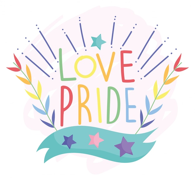 Happy pride day, love stars leaves decoration lgbt community Premium Vector