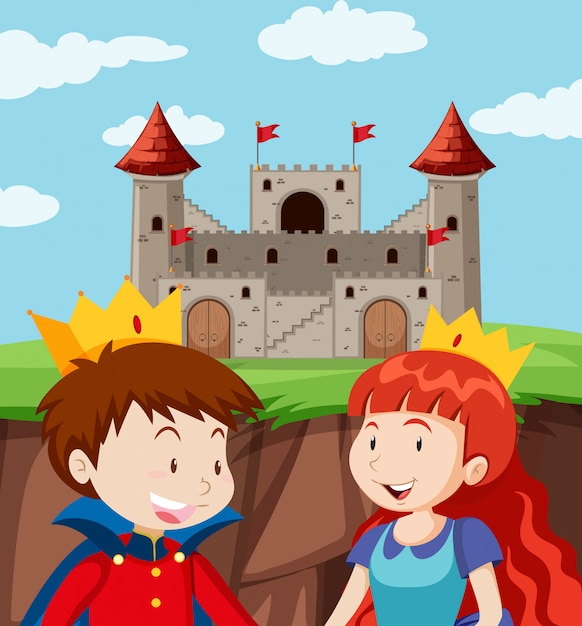 Happy prince and princess at castle Free Vector
