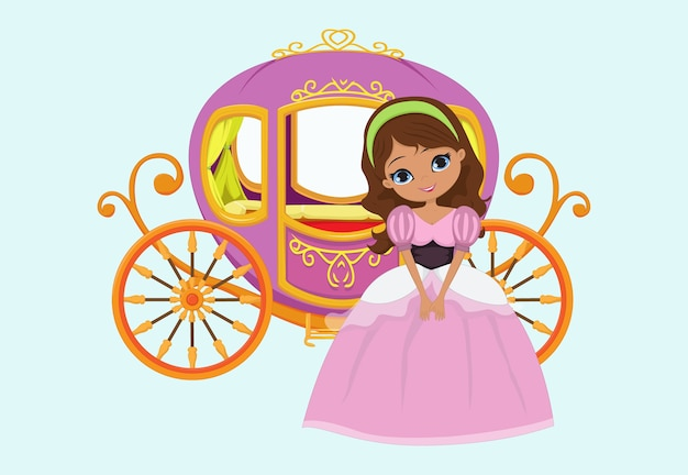 Happy princess with royal carriage Premium Vector