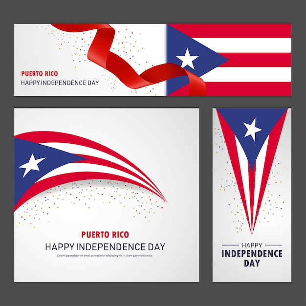Happy puerto rico independence day banner and background set Free Vector