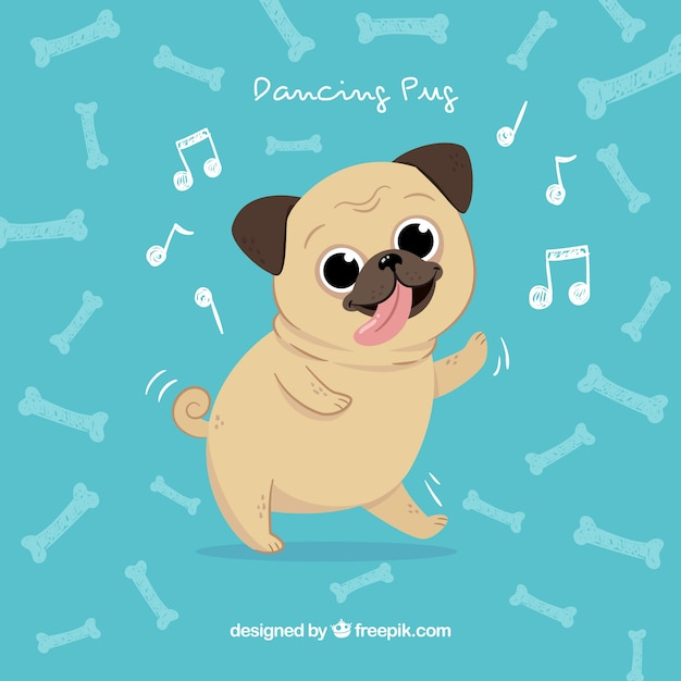 pug dancing happy pug dancing with hand drawn style vector free download 8187