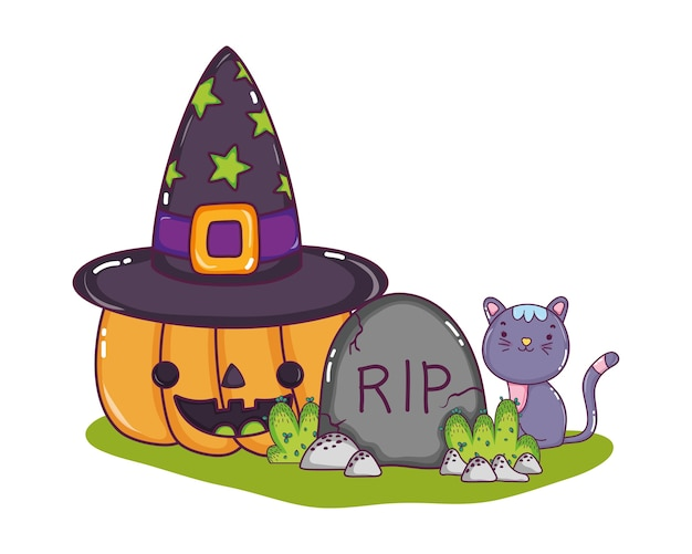 Happy pumpkin with hat and rip with cat Premium Vector