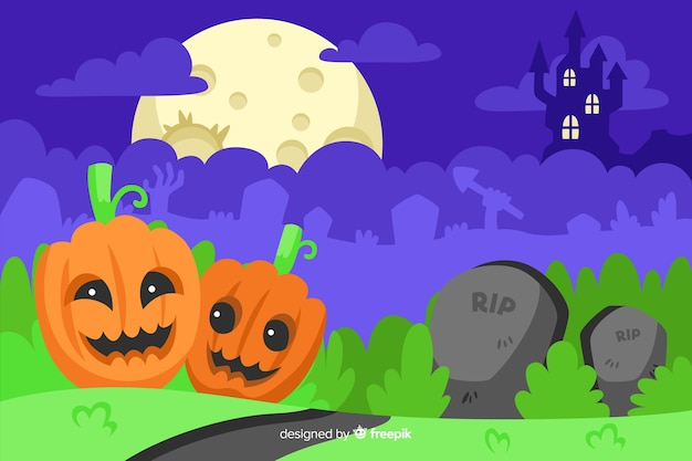 Happy pumpkins on grass halloween background Free Vector