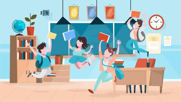 幸せな生徒は教室に飛び込みます。学校の建物 Premiumベクター