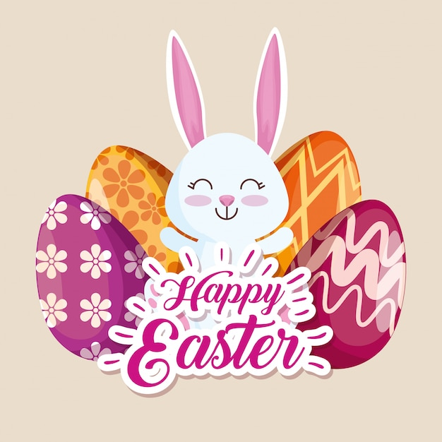 Happy rabbit and easter eggs with figures decoration Free Vector