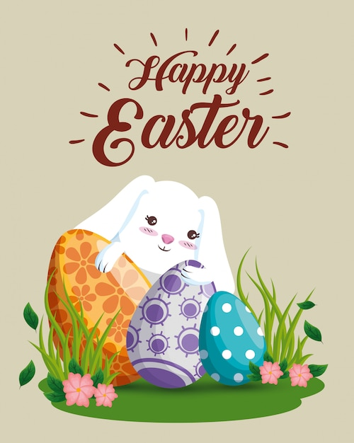 Happy rabbit with eggs decoration and flowers Free Vector