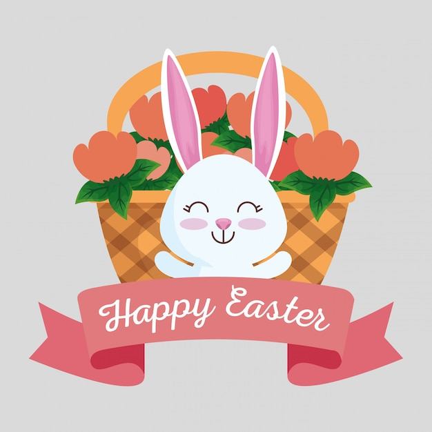 Happy rabbit with ribbon and flowers inside basket Free Vector