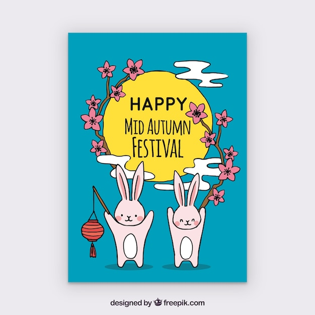 Happy rabbits celebrating mid autumn festival