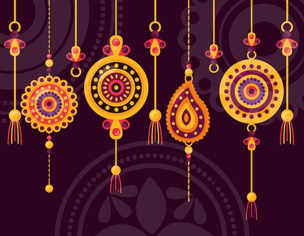 Happy raksha bandhan celebration Free Vector