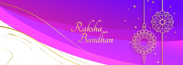 Happy raksha bandhan festival banner with decorative rakhi Free Vector