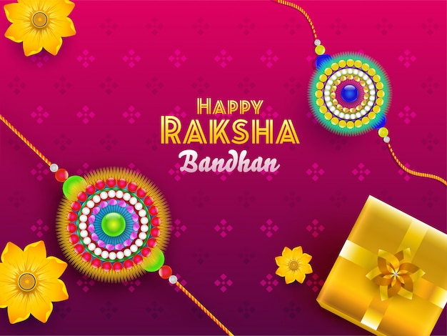 Happy raksha bandhan font with top view of glossy gift box and flower rakhis on pink background. Premium Vector