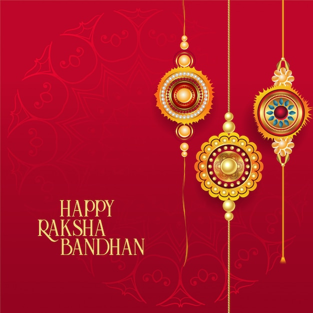 Happy raksha bandhan red background with decorative rakhi Free Vector