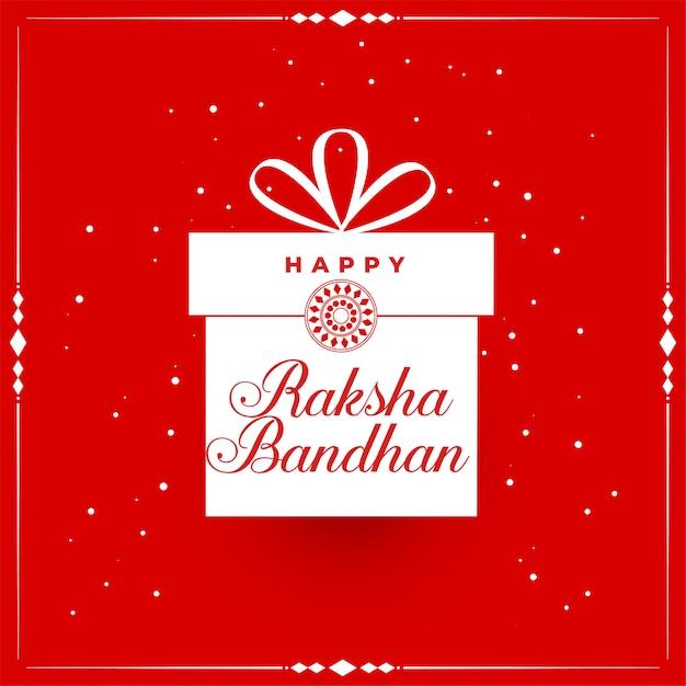 Happy raksha bandhan red background with gift Free Vector