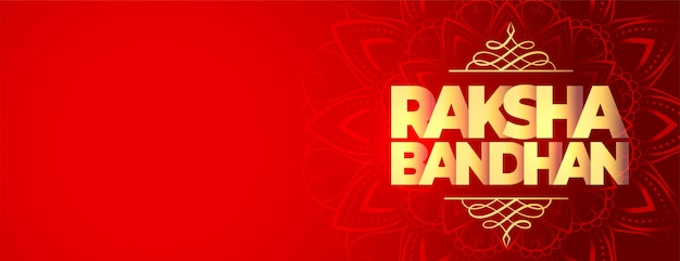 Happy raksha bandhan red wide banner with text space Free Vector